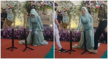 Viral Pengantin Wanita Beraksi Patahkan Besi di Acara Pernikahannya, Bikin Melongo