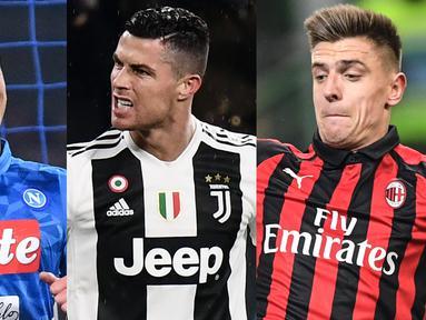 Mega Bintang Cristiano Ronaldo kembali memuncaki peraih top scorer Serie A usai mencetak dua gol usai ditahan imbang Parma FC 3-3. Raihan terbeut membuatnya berselisih satu gol saja dari Quagliarella (Kolase Foto AFP)