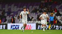 Kim Min-jae merayakan golnya ke gawang Kirgizstan. (AFP/Giuseppe Cacace)