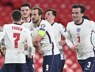 FOTO: Duo Harry Tentukan Kemenangan Inggris 2-1 atas Polandia - Harry Maguire; Tim Inggris