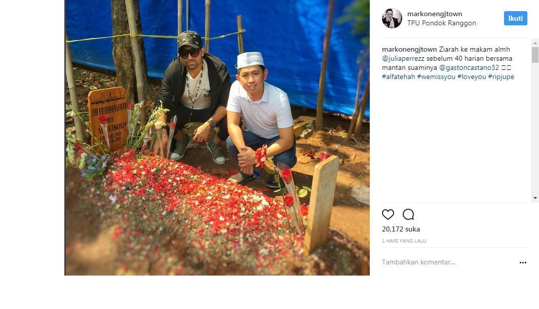 Gaston Castano kunjungi makam Julia Perez (Foto: Instagram)