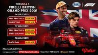 Jadwal dan Live Streaming F1 2021 GP Inggris di Fox Sports Eksklusif Melalui Vidio Pekan Ini. (Sumber : dok. vidio.com)