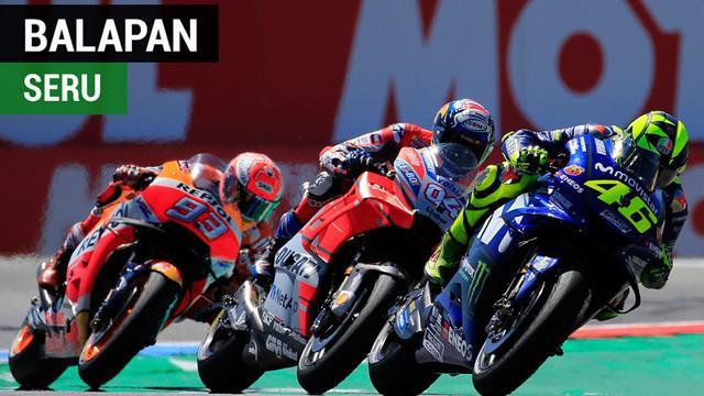 Berita video balapan MotoGP Belanda yang berjalan seru dan ketat, di mana Marc Marquez menjadi juara dan Valentino Rossi finis di posisi ke-5.