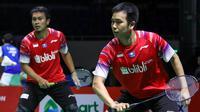 Mohammad Ahsan/Hendra Setiawan di Perempat Final Kejuaraan Bulutangkis Beregu Asia 2020. (PBSI)