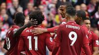 Para pemain Liverpool merayakan gol ke gawang Southampton di pekan keenam Liga Inggris 2018-2019 (Foto: PAUL ELLIS / AFP)