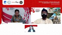 Webinar Literasi Digital Wilayah Kabupaten Bogor yang dihadiri Menkominfo Johnny G. Plate dan Menteri Pariwisata dan Ekonomi Kreatif Republik Indonesia Sandiaga Uno. (Ist.)