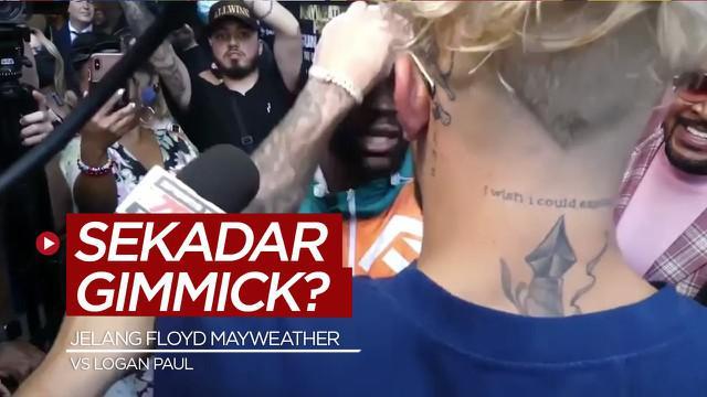 Berita video insiden topi legenda tinju dunia Floyd Mayweather tiba-tiba diambil youtuber bernama Jake Paul. Apakah hanya gimmick?