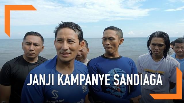 Sandiaga Uno melanjutkan kampanye dengan berlari dan berenang di Situbondo. Apa janji Sandi di kampanyenya?