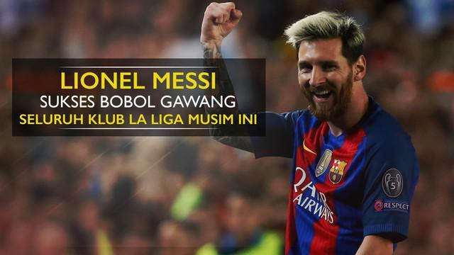Berita video motion grafis statistik Lionel Messi yang sudah sukses bobol gawang seluruh klub La Liga pada musim 2016/2017.