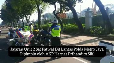 Satpatwal Polda Metro Jaya menindak bikers Harley Davidson yang menggunakan lampu strobo (Satpatwal Polda Metro Jaya)