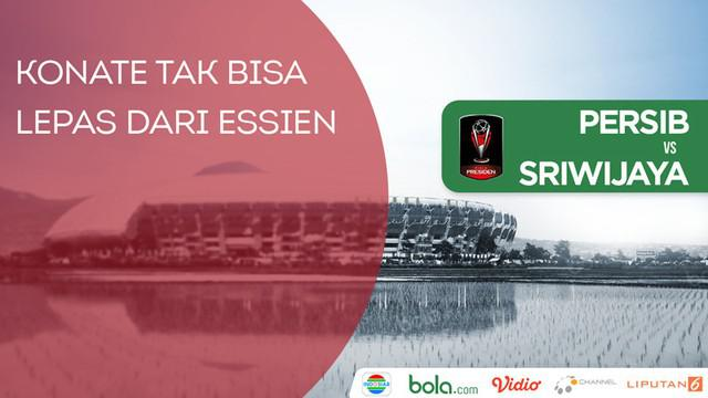 Berita video momen Makan Konate tak bisa lepas dari Michael Essien saat pertandingan Persib Bandung melawan Sriwijaya FC di Piala Presiden 2018, Bandung, Selasa (16/1/2018).