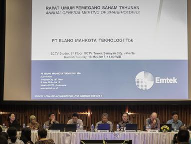 Suasana saat Rapat Umum Pemegang Saham Tahunan (RUPST) PT Elang Mahkota Teknologi Tbk (EMTK) di SCTV Tower, Jakarta, Kamis (18/5). EMTK akan membagikan dividen sebesar Rp 40 per saham dari laba bersih tahun buku 2016. (Liputan6.com/Faizal Fanani)