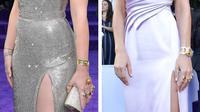 Scarlett Johansson dan Brie Larson pakai perhiasan ala karakter Thanos di world premiere Avengers: Endgame di Los Angeles, Amerika. (AMY SUSSMAN / GETTY IMAGES NORTH AMERICA / AFP)