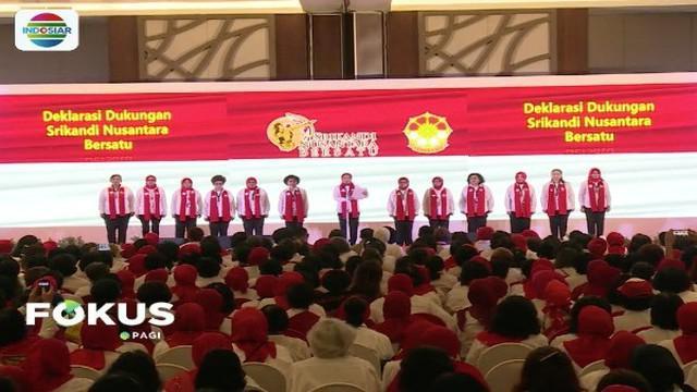 Iriana Jokowi bersilaturahmi dengan 1.400 Srikandi Nusantara Bersatu di Hotel Discovery, Ancol, Jakarta.