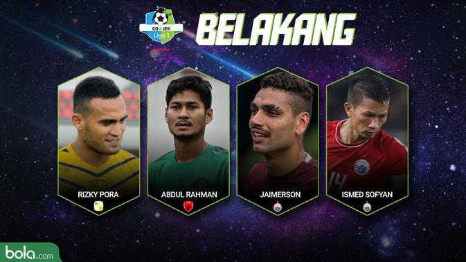 Best XI Liga 1 Belakang 2018 (Bola.com/Adreanus Titus)