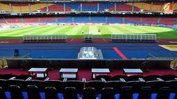 Pemandangan lapangan dari tempat duduk penonton untuk pejabat negara di Stadion Bukit Jalil, Kuala Lumpur, Malaysia.