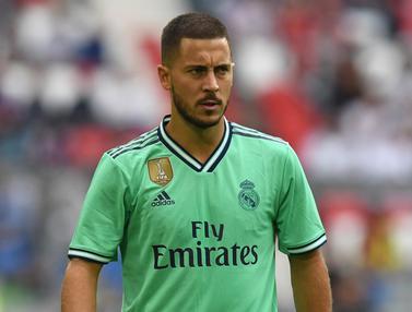 Selebrasi Eden Hazard Setelah Cetak Gol Perdana di Real Madrid