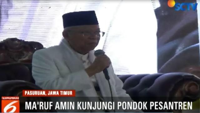 Ma'ruf Amin meminta doa restu dari para jemaah agar mampu menjadi pemimpin yang amanah bagi ummat jika terpilih nanti.