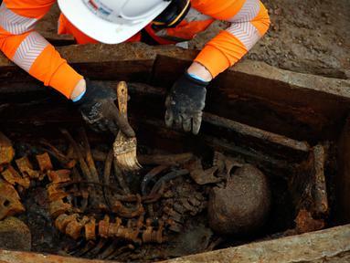 Arkeolog membersihkan kerangka dalam peti mati saat penggalian pemakaman di bawah St James Gardens, London, Inggris, Kamis (1/11). Lokasi pemakaman berada dekat Stasiun Euston. (ADRIAN DENNIS/AFP)