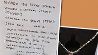 Kalung cantik pemberian seorang pengagum Ani Yudhoyono yang menjalani perawatan akibat sakit kanker darah. (dok. Instagram @aniyudhoyono/Dinny Mutiah)