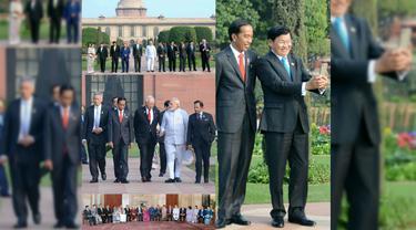 Presiden RI Joko Widodo bersama dengan Perdana Menteri India dan para Pemimpin Negara ASEAN, saat sesi retreat KTT ASEAN - India di Rasthrapati Bhawan (25/1/2018) (sumber: Sekretariat Presiden RI)