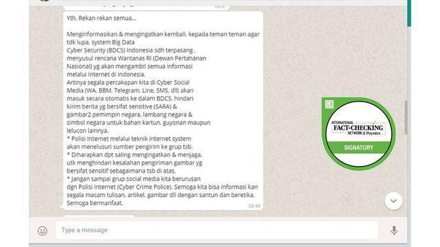 Cek Fakta Big Data Cyber Security Yang Bisa Sadap Informasi Dipasang Di Indonesia Cek Fakta Liputan6 Com