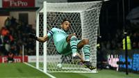 Pierre- Emerick Aubameyang mencetak gol semata wayang bagi Arsenal saat mengalahkan Watford dalam lanjutan Premier League Selasa (16/4/2019) dini hari WIB. (AFP)