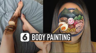 Makanan memang bisa dikreasikan dimana-mana. Salah satunya wanita ini yang membuat body painting makanan seperti terlihat nyata.
