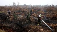 Seorang petugas pemadam dari Kementerian Kehutanan Indonesia, bersama anggota TNI menyemprotkan air ke hutan lahan gambut di Parit Indah Desa, Kampar, Riau, Rabu (9/9/2015). Kebakaran lahan menyebabkan kabut asap di sejumlah wilayah. (REUTERS/YT Haryono)
