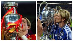 Fernando Torres. Seperti Juan Mata, ia juga bagian dari skuat Chelsea yang merebut trofi si Kuping Besar pada 2011/2012. Ia juga mencetak satu gol saat Timnas Spanyol mencukur Italia di final Euro 2012 sekaligus sukses mempertahankan gelar yang direbut pada 2008. (Foto:AFP/Franck Fife/Adrian Dennis)