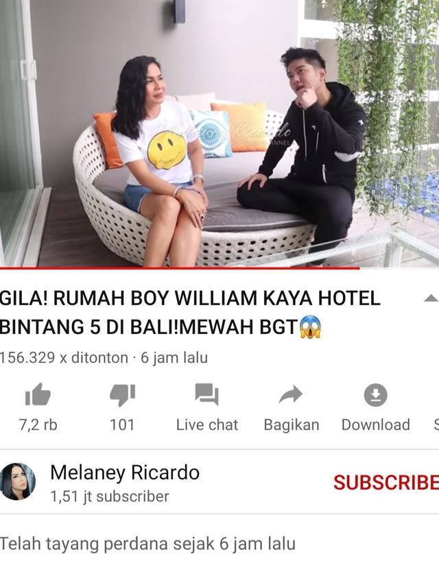 Melaney Ricardo dan Boy William. (Foto: YouTube Melaney Ricardo)