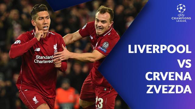 Mohamed Salah mencetak dua gol saat Liverpool mengalahkan Crvena Zvezda dengan skor 4-0 di Anfield, Kamis (25/10/2018).