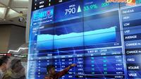 Direktur Utama BEI Ito Warsito menunjukkan layar monitor yang menampilkan perkembangan saham PT Wijaya Karya Beton Tbk (WTON) di Bursa Efek Jakarta, Gedung BEI, Jakarta, Selasa (8/4/2014) (Liputan6.com/Faisal R Syam).