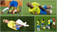 Berikut ini momen dan ekspresi striker Brasil, Neymar, saat dilanggar pemain lawan pada laga kontra Swiss di Piala Dunia 2018. (Foto-foto Kolase AP dan AFP).