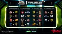 Jadwal dan live streaming pertandingan MDL Indonesia Season 4 Pekan Kelima di Vidio, 13-16 September 2021. (Sumber : dok. vidio.com)