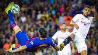 Penyerang Barcelona, Luis Suarez kala mencetak gol ke gawang Sevilla di Camp Nou dalam laga pekan ke-8 La Liga Spanyol 2019-2020 (Foto: Doc Barcelona)