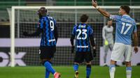Inter Milan meraih kemenangan 3-1 atas Lazio pada laga pekan ke-22 Serie A di Giuseppe Meazza, Senin (15/2/2021) dini hari WIB. Dua dari tiga gol Inter dicetak Romelu Lukaku. (AFP/Marco Bertorello)