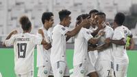 Penyerang Timor Leste, Rufino Walter Gamma (nomor punggung tujuh), mencetak gol ke gawang Timnas Indonesia, Selasa (13/11/2018) di Stadion Utama Gelora Bung Karno. (Bola.com/Muhammad Iqbal Ichsan)