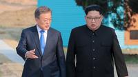 Moon Jae-in dan Kim Jong-un Sepakati Denuklirisasi Penuh (KOREA SUMMIT PRESS POOL / AFP)