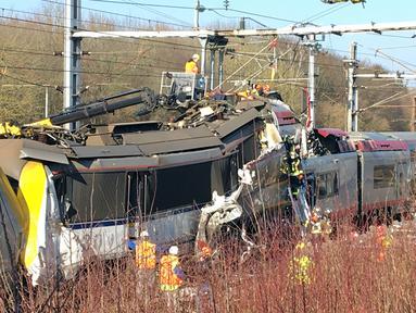 Sebuah kereta penumpang dan kereta barang bertabrakan antara Bettembourg dan Zoufftgen di Luxembourg, Selasa (14/2). Satu orang dinyatakan tewas dalam peristiwa tersebut. (AFP PHOTO/POLICE GRAND-DUCALE)