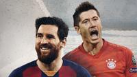Head-to-head Lionel Messi vs Robert Lewandowski. (Bola.com/Dody Iryawan)