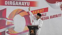 Ketua Dewan Pembina Partai Gerakan Indonesia Raya (Gerindra), Prabowo Subianto berpidato dalam acara Hari Ulang Tahun ke-10 Tahun yang digelar di kantor Dewan Pimpinan Pusat (DPP) Partai Gerindra, Jakarta, Sabtu (10/2). (Liputan6.com/Herman Zakharia)