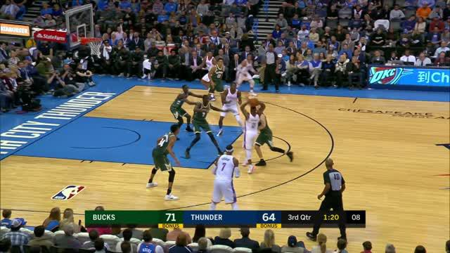 Berita video game recap NBA 2017-2018 antara Milwaukee Bucks melawan Oklahoma City Thunder dengan skor 97-95.