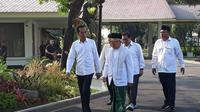 Jokowi dan Ma'ruf Amin di Istana Merdeka, Jakata, Minggu (30/6/2019). (Liputan6.com/Lizsa Egeham)