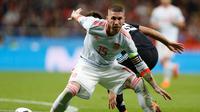 Bek timnas Spanyol, Sergio Ramos. (AP Photo/Francisco Seco)
