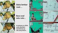 Meme kesulitan mengerjakan soal ujian (Sumber: Instagram/ngakakkocak/Facebook/Smpn 1 Cibuaya 1985 Karawang)