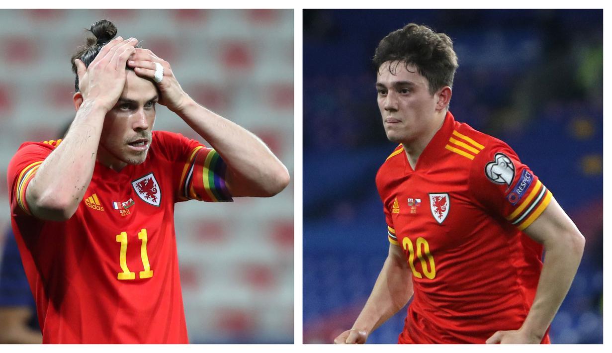 Didukung para pemain yang berkiprah di kompetisi Eropa, Wales akan melakoni laga perdana mereka di Grup A Euro 2020 (Euro 2021) kontra Swiss. Selain Gareth Bale sebagai pemain senior, Wales juga menumpukan harapan pada sayap muda Manchester United, Daniel James. (Foto: Kolase AFP)