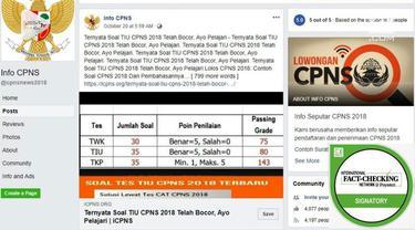Di media sosial, terutama Facebook, beredar sejumlah bocoran soal ujian CPNS.