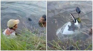 Aksi Kocak Pria Mancing di Sungai Malah Dapat Motor Ini Bikin Heran