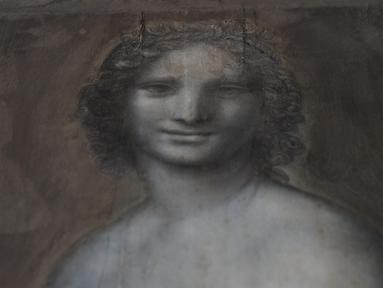 Lukisan 'Monna Vanna' atau dikenal dengan 'Mona Lisa Telanjang' ditunjukkan di Museum Conde, Chantilly, Prancis, Senin (11/3). 'Monna Vanna' diyakini dilukis oleh Leonardo da Vinci. (Kenzo Tribouillard/AFP)